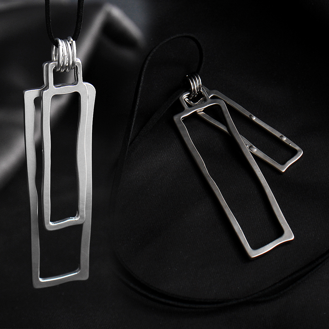 Double Square Pendant Leather Strap Necklace N102