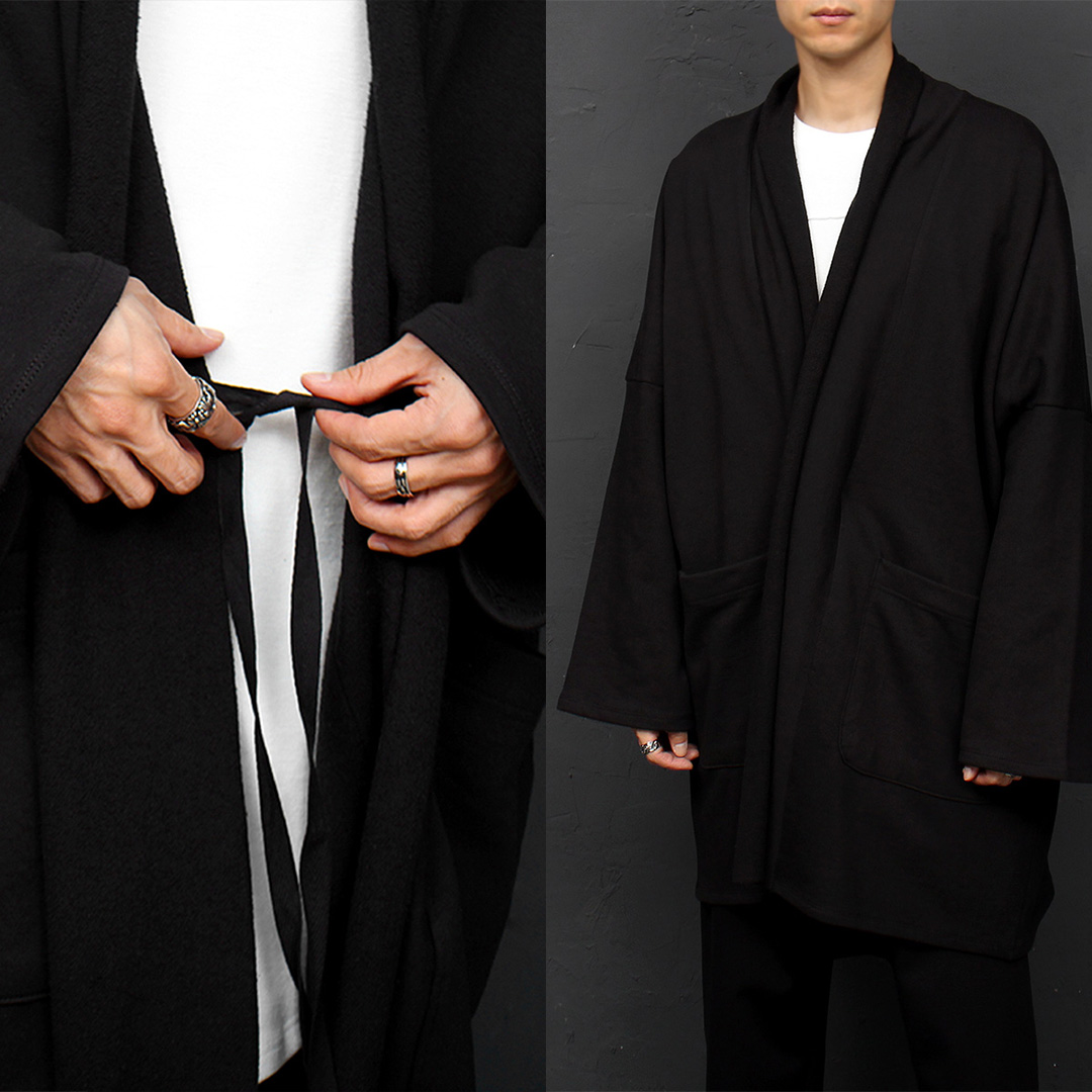 Over-sized Loose Fit Open Shawl Black Cardigan 018