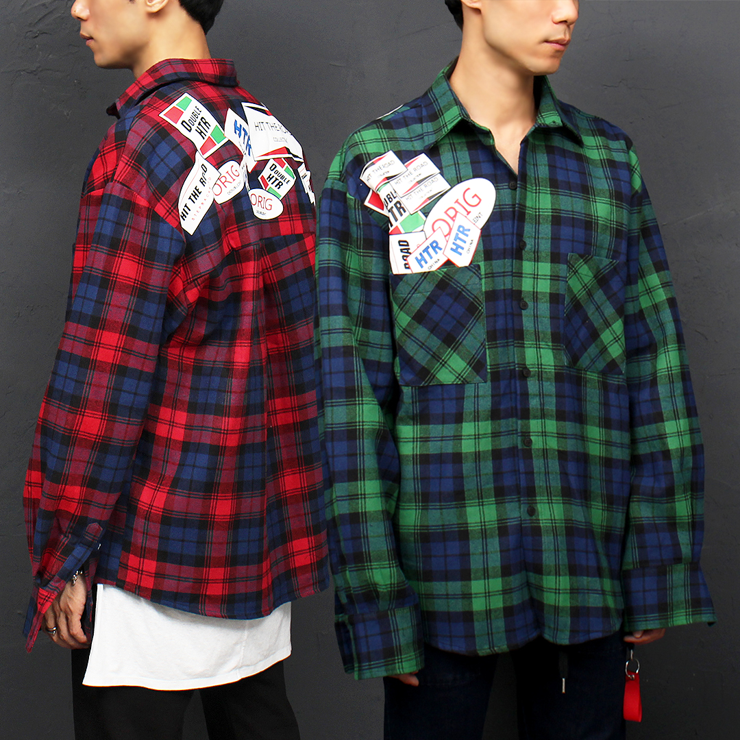 Color Checkered Pattern Printing Patch Boxy Shirt 063