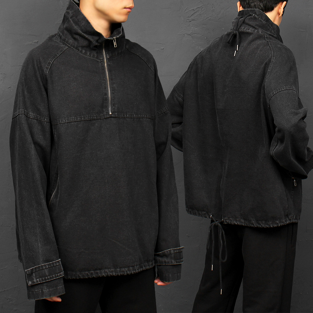 Zipper Pocket Black Denim Anorak 058