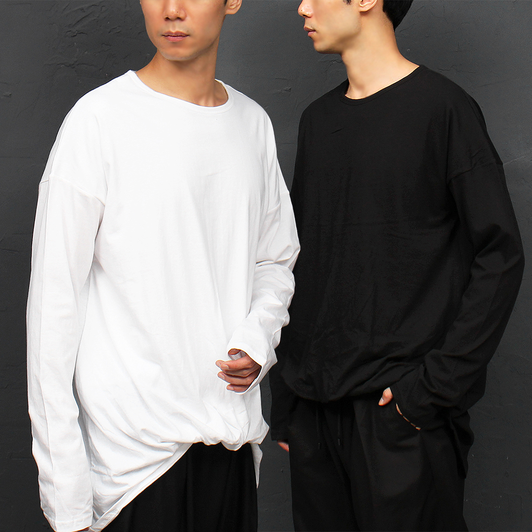 Unbalanced Balloon Hem Loose Fit Boxy Tee Shirt 052
