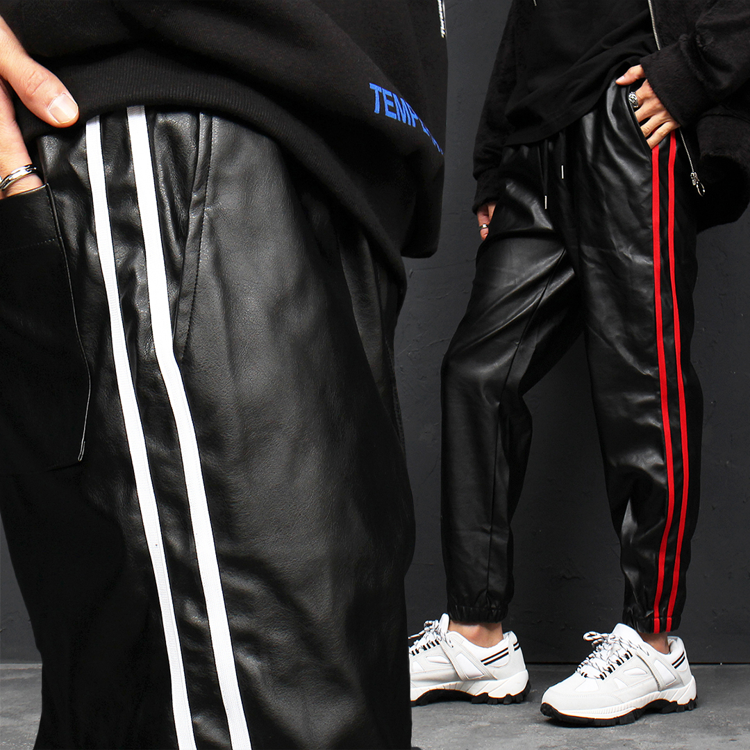 Side Double Line Synthetic Faux Leather Joggers 123
