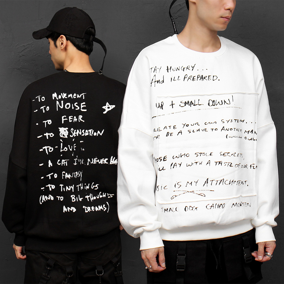 Loose Fit Writing Note Printing Patched Boxy Sweatshirt 064
