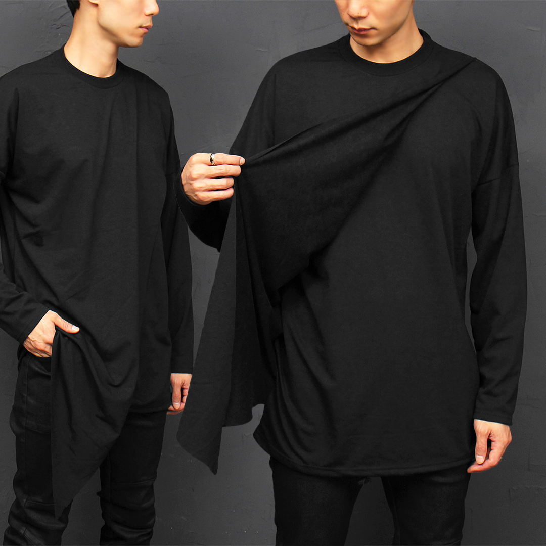 Avant garde Unbalanced Layered Long Hem Tee 061