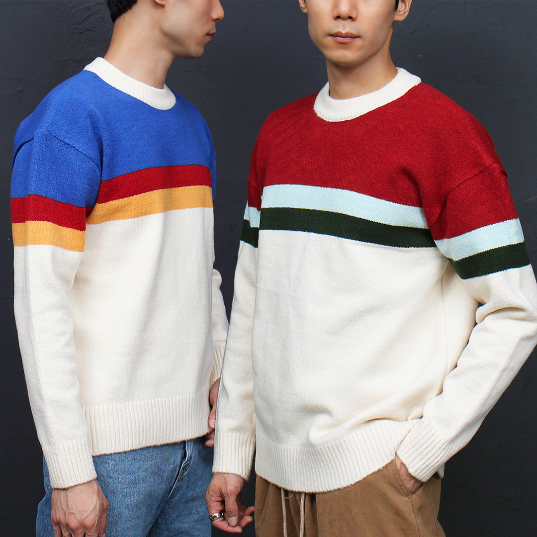 Contrast Color Striped Pattern Knit Jumper 016