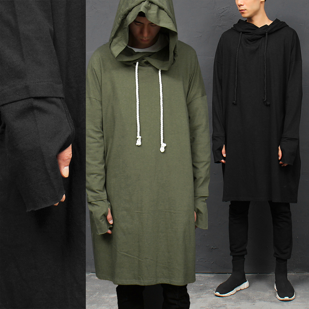 Avant garde Hand Warmer Wide Shoulder Long Hoodie 041