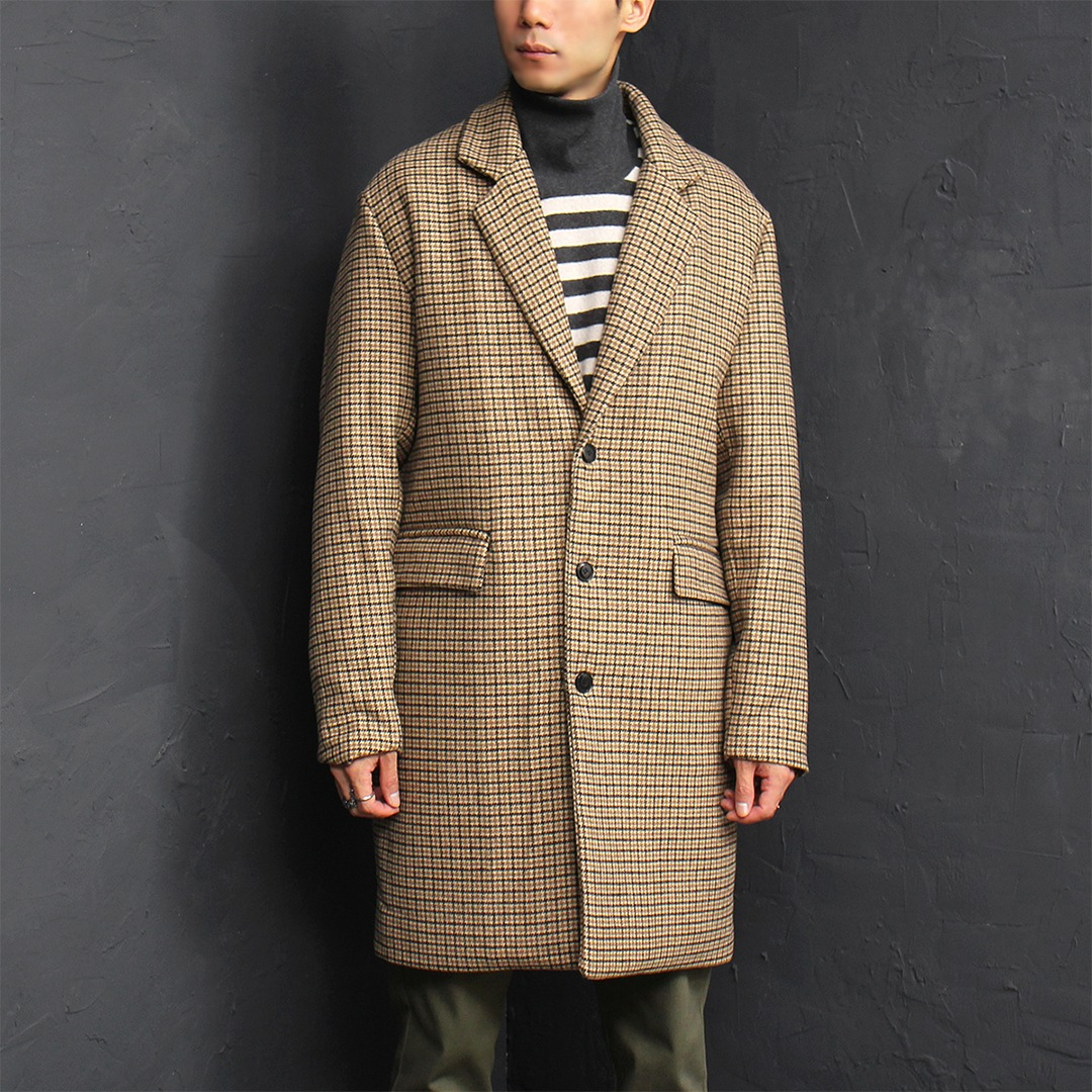 Loose Fit Hound's Tooth Pattern Long Wool Coat 006