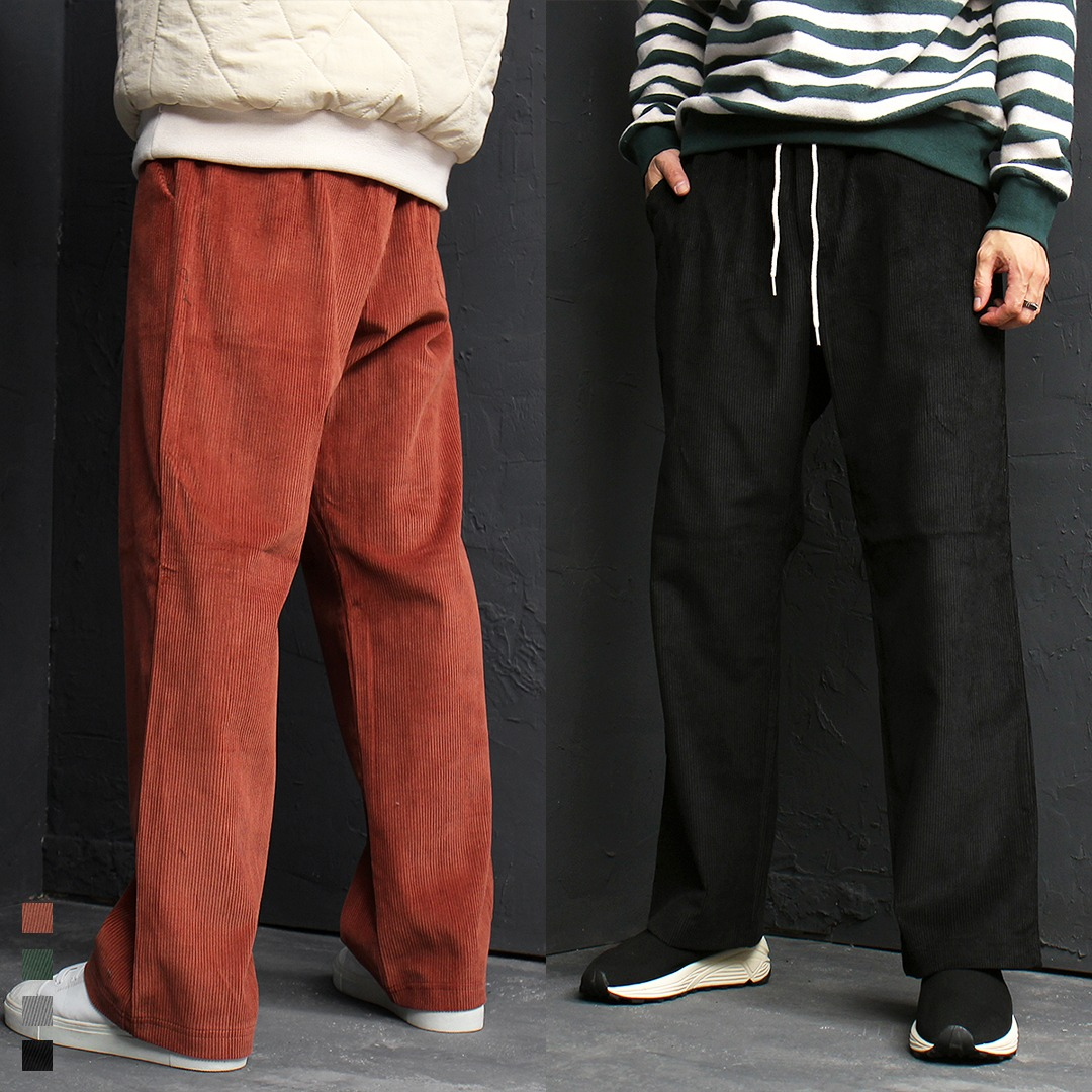 Corduroy Pattern Elastic Waistband Wide Sweatpants 131