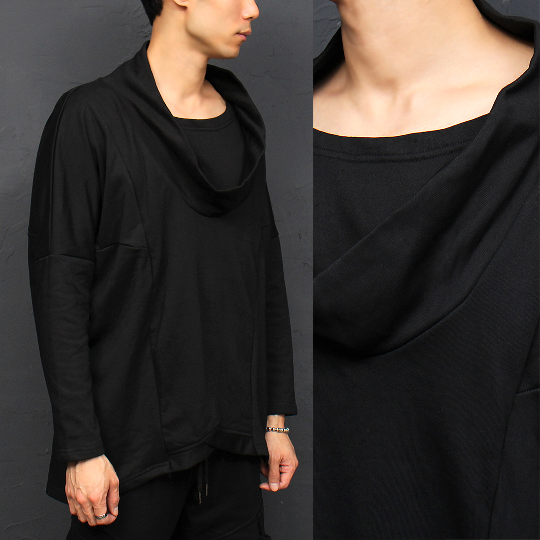 Avant garde Draped Turtle Neck Unbalanced Hem Tee 060