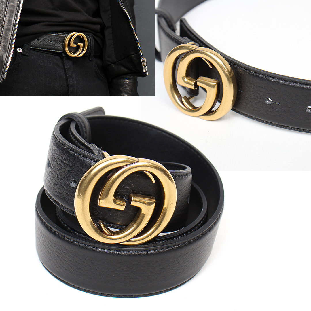 Gold Tone G Logo Buckle Leather Belt 101