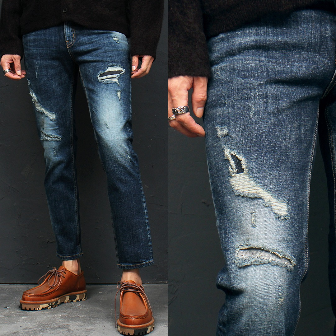 Slim Fit Distressed Faded Skinny Jeans 119