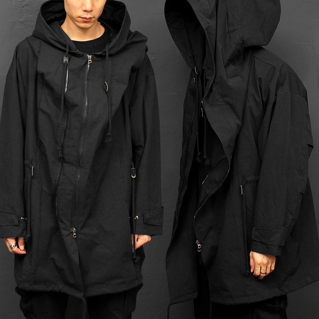 Double Zipper Wired Big Hood Long Jacket 039