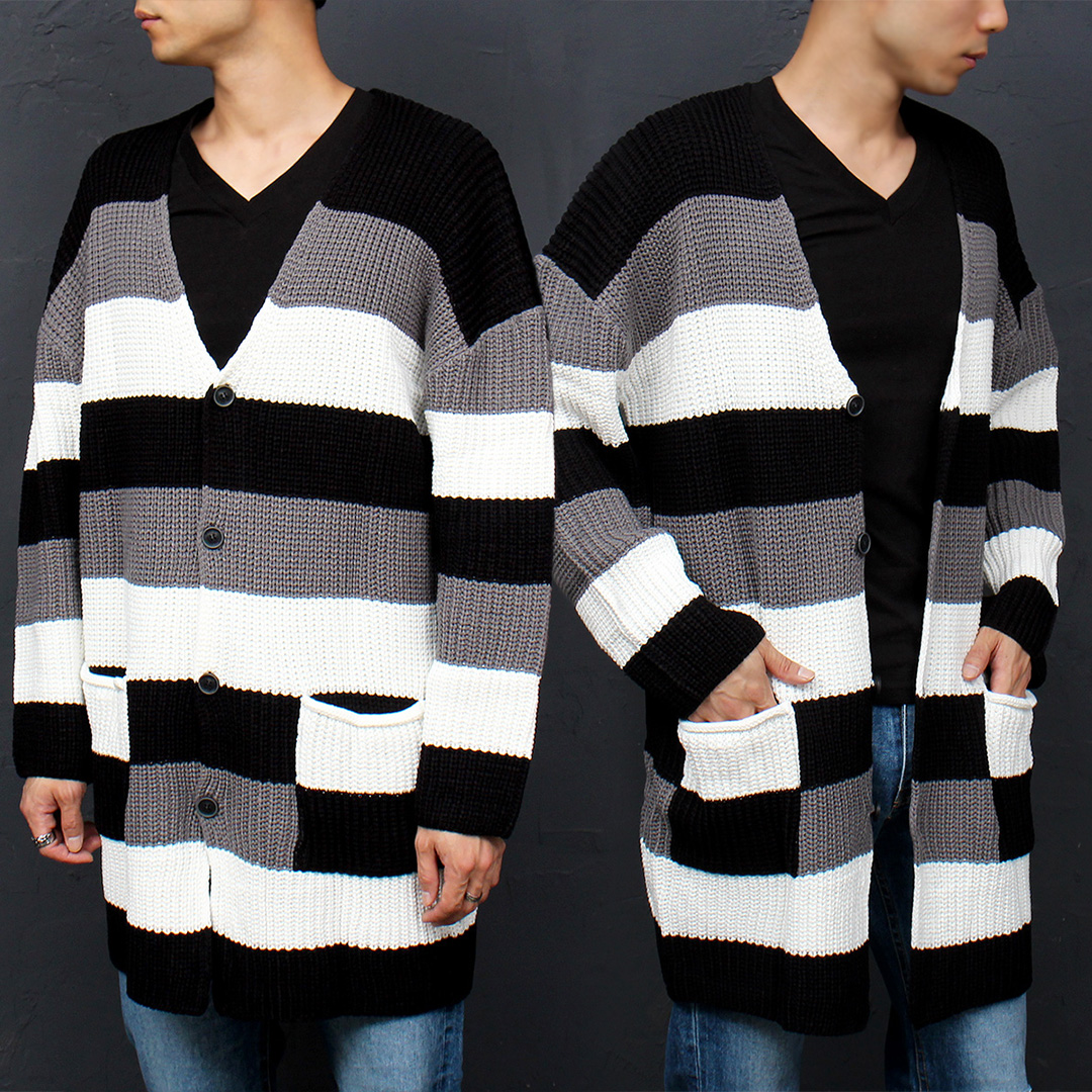 Color Striped Pattern Knit Long Cardigan 023
