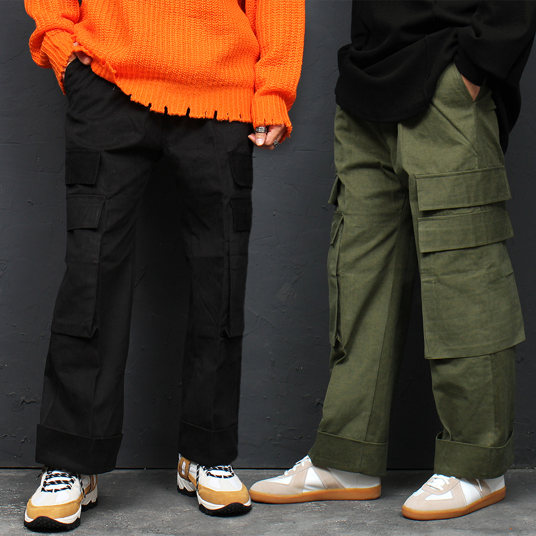 Big Cargo Pocket Elastic Waist Wide Baggy Pants 121