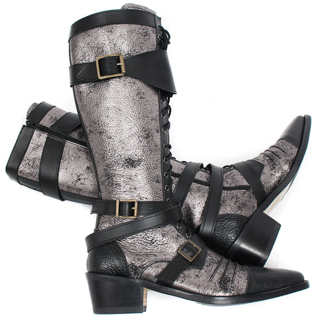 Handmade Vampire Silver Coated Buckle Wrap Long Leather Boots 008