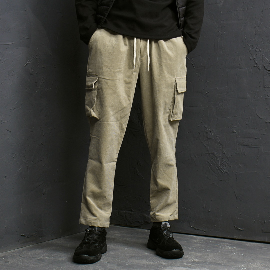 Corduroy Waistband Cargo Pocket Baggy Sweatpants 130