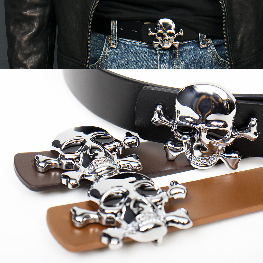 Silver Tone Skull Buckle Leather Belt 108