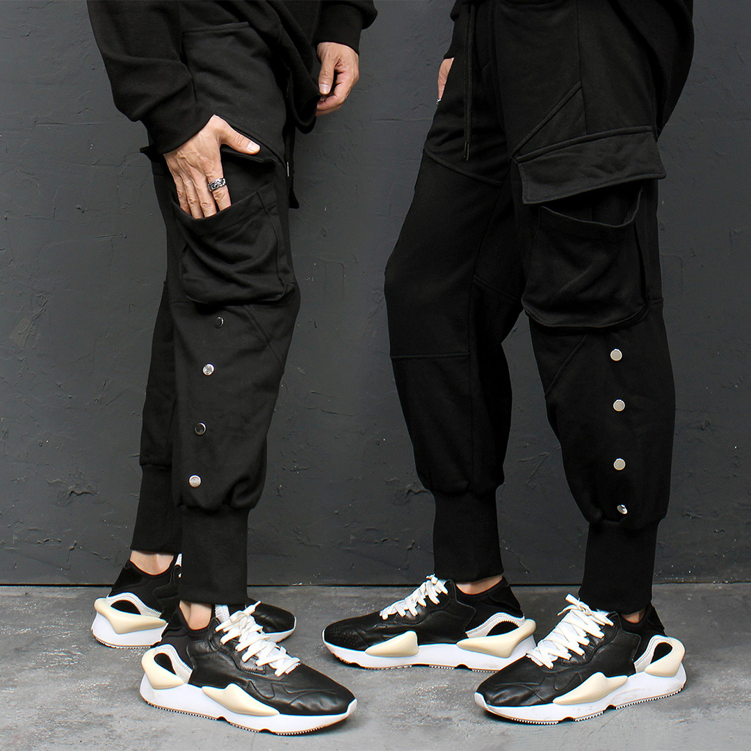 Big Cargo Pocket Side Studs Jogger Sweatpants 119