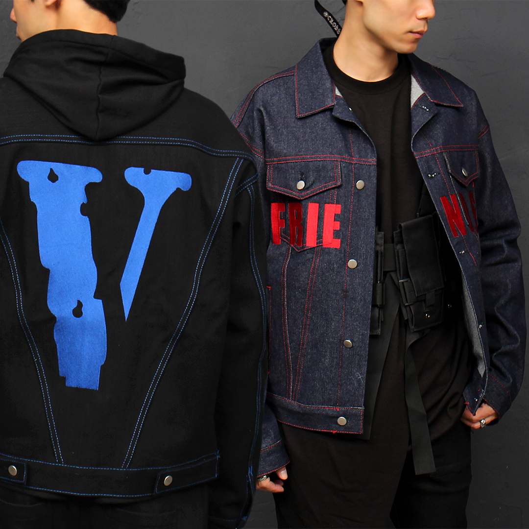 Logo Stitched Blue Denim Boxy Jacket 042