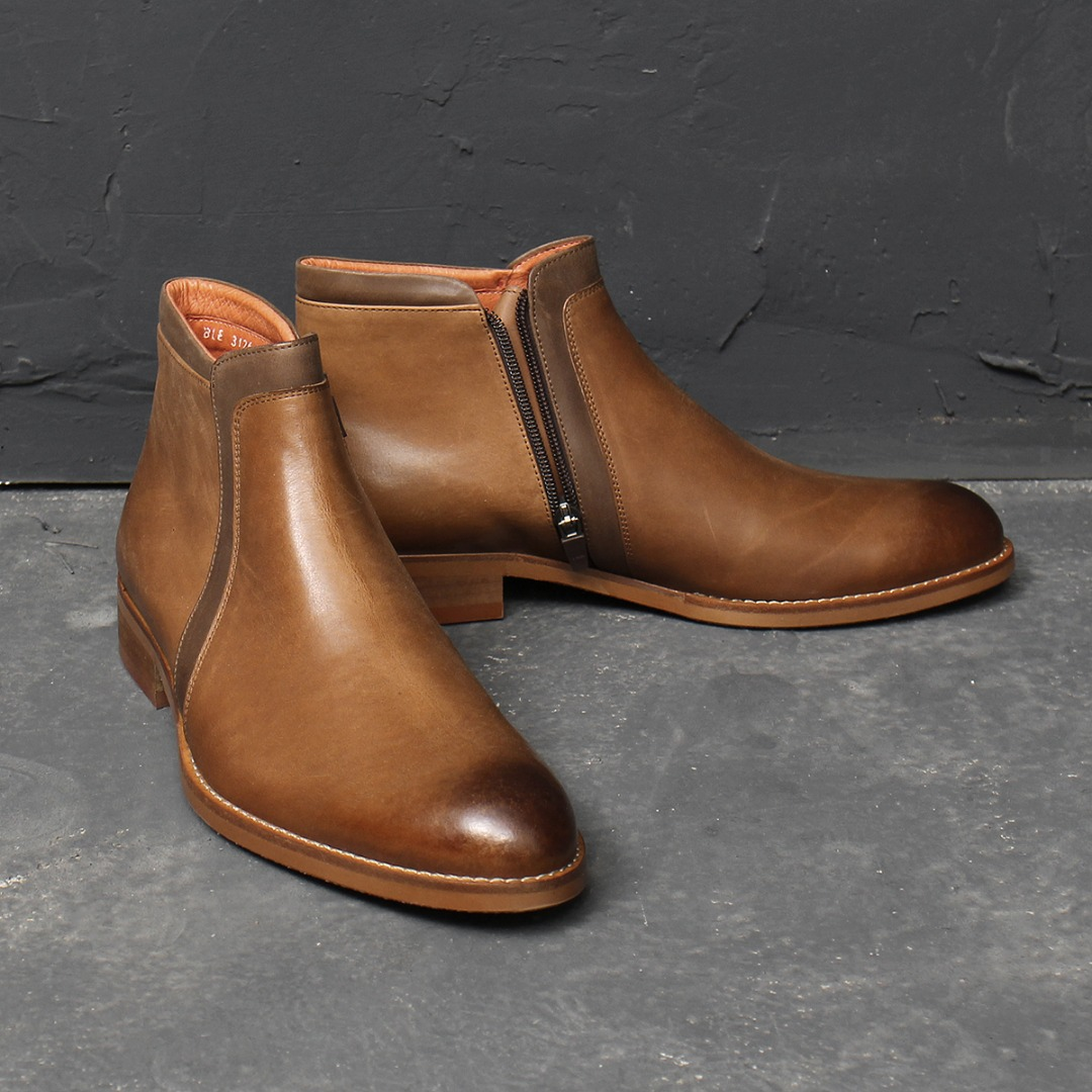 Handmade Tanned Brown Zipper Leather Boots 009