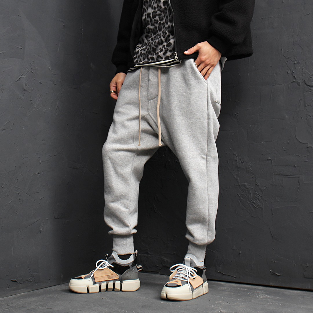 Drop Crotch Pocket Fleecy Interior Baggy Joggers 107