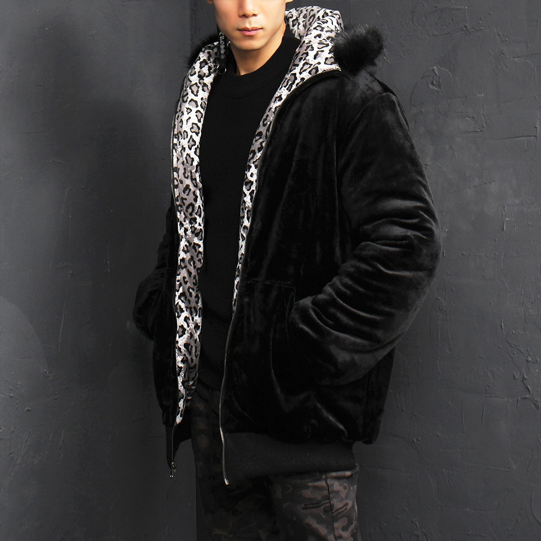 Revisiable Leopard Mink Fur Fleece Hood Jacket 009