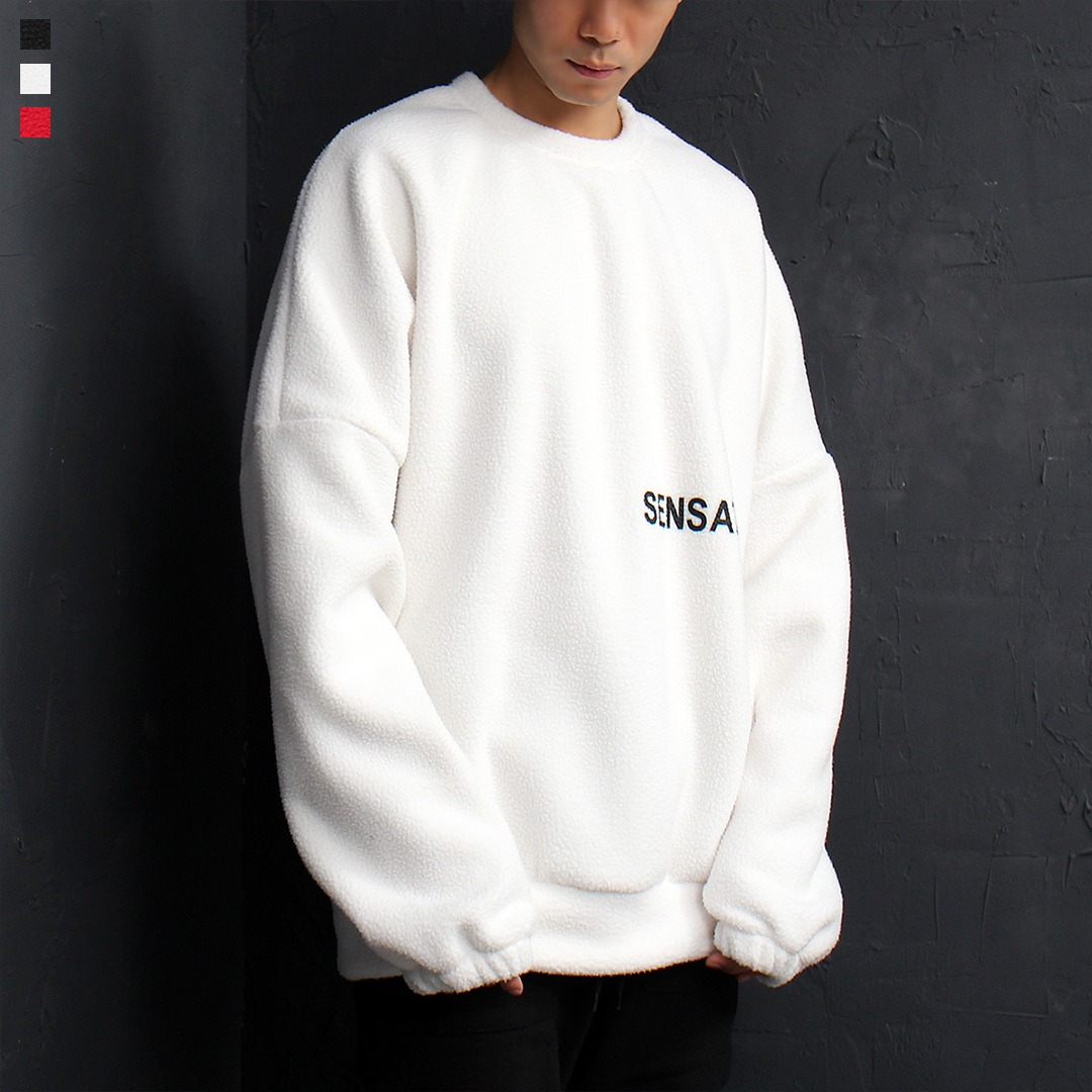 Logo Printing Over-sized Loose Fit Fleece Sweatshirt 062