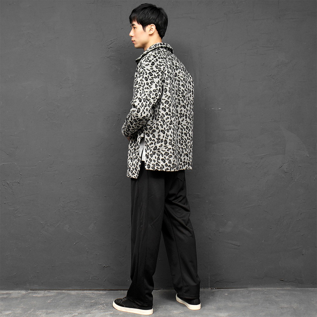 Loose Fit Leopard Pattern Wool Split Side Boxy Shirt 081