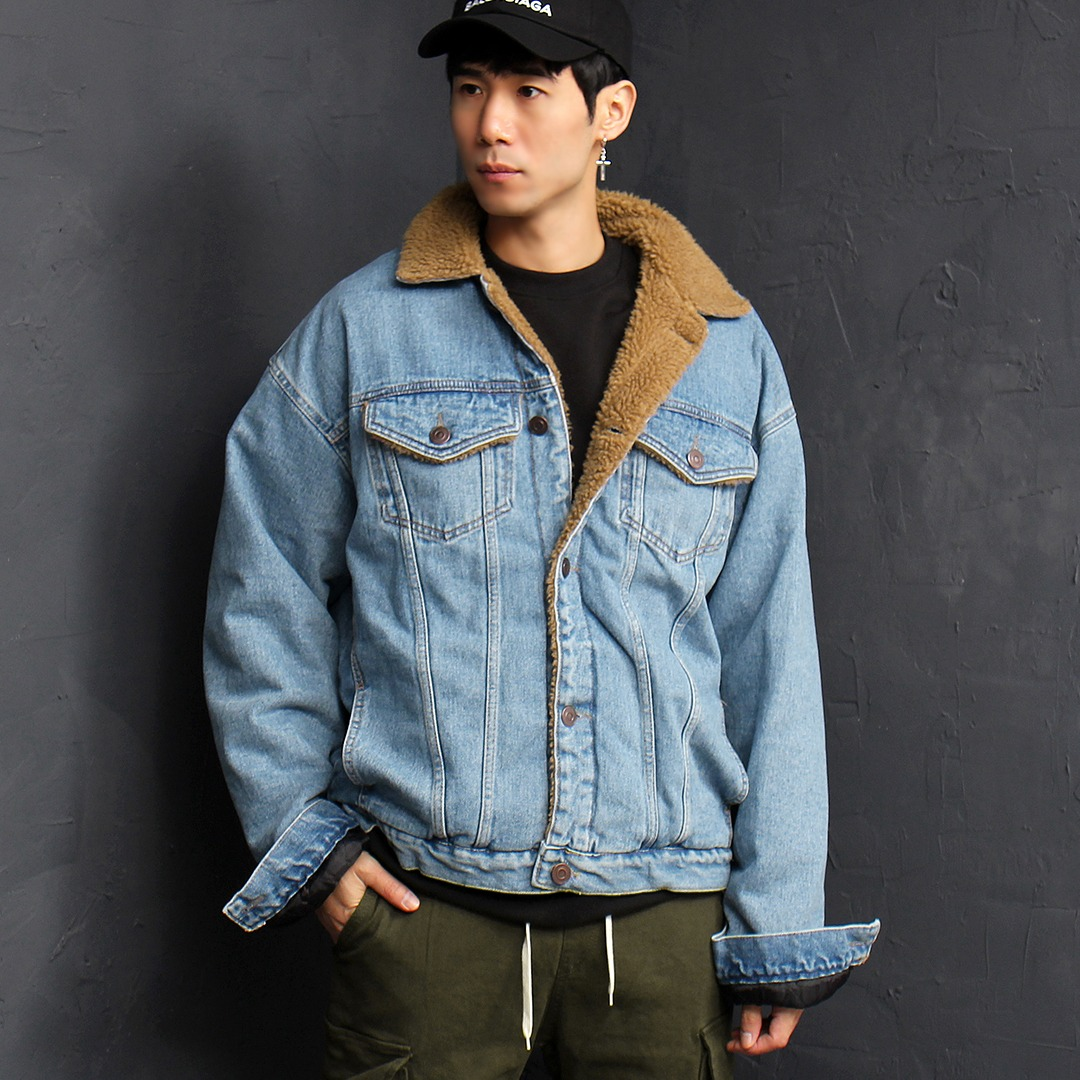 Loose Fit Fleecy Denim Jacket 053