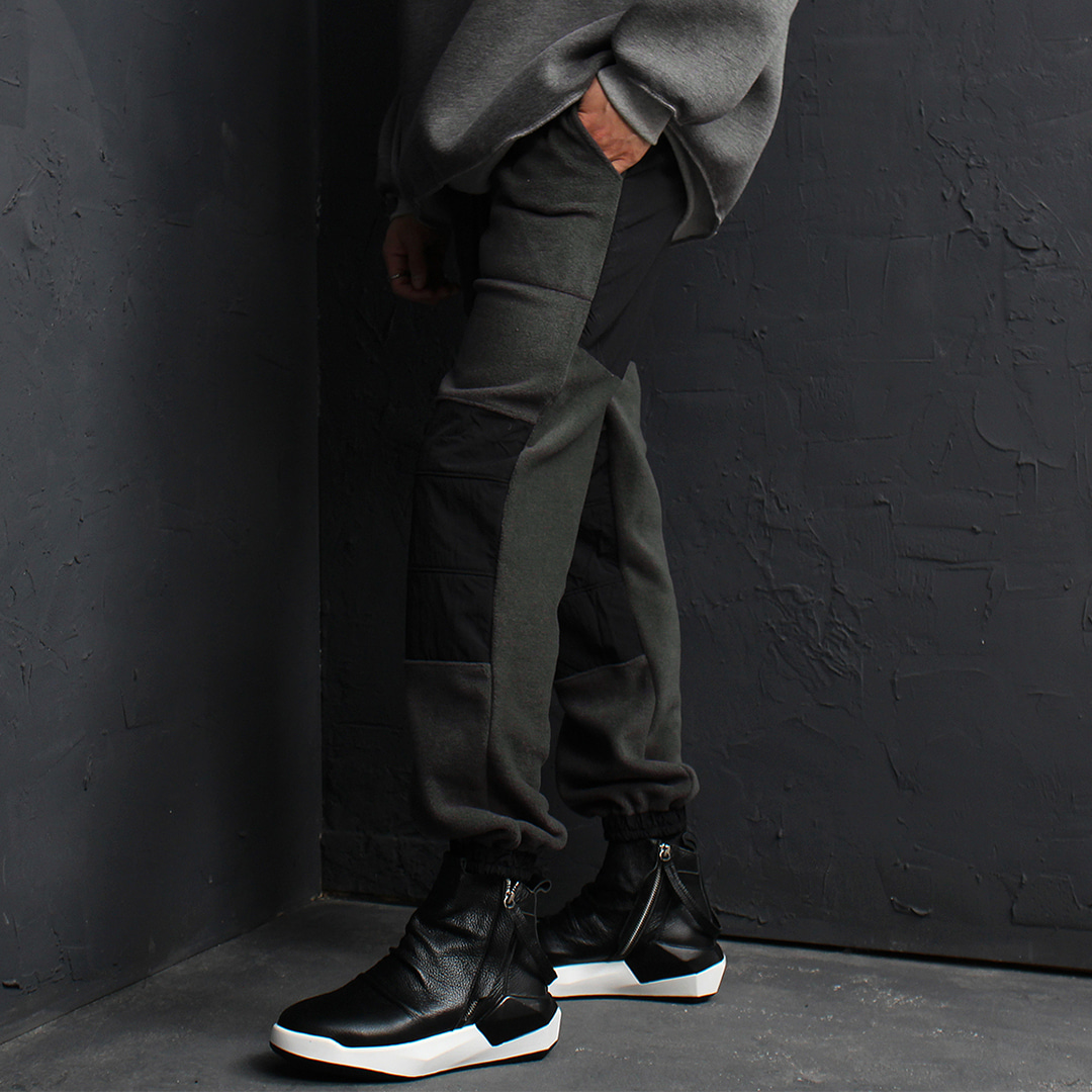 Contrast Hip Knee Styling Fleece Jogger Sweatpants 144