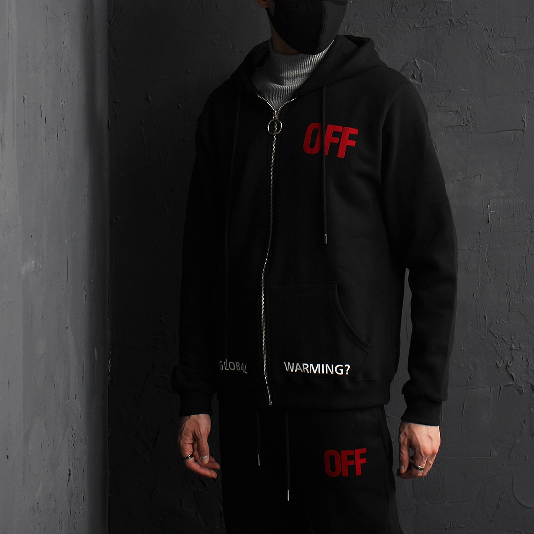 OFF Printing Fleecy Zip Up Hoodie 026