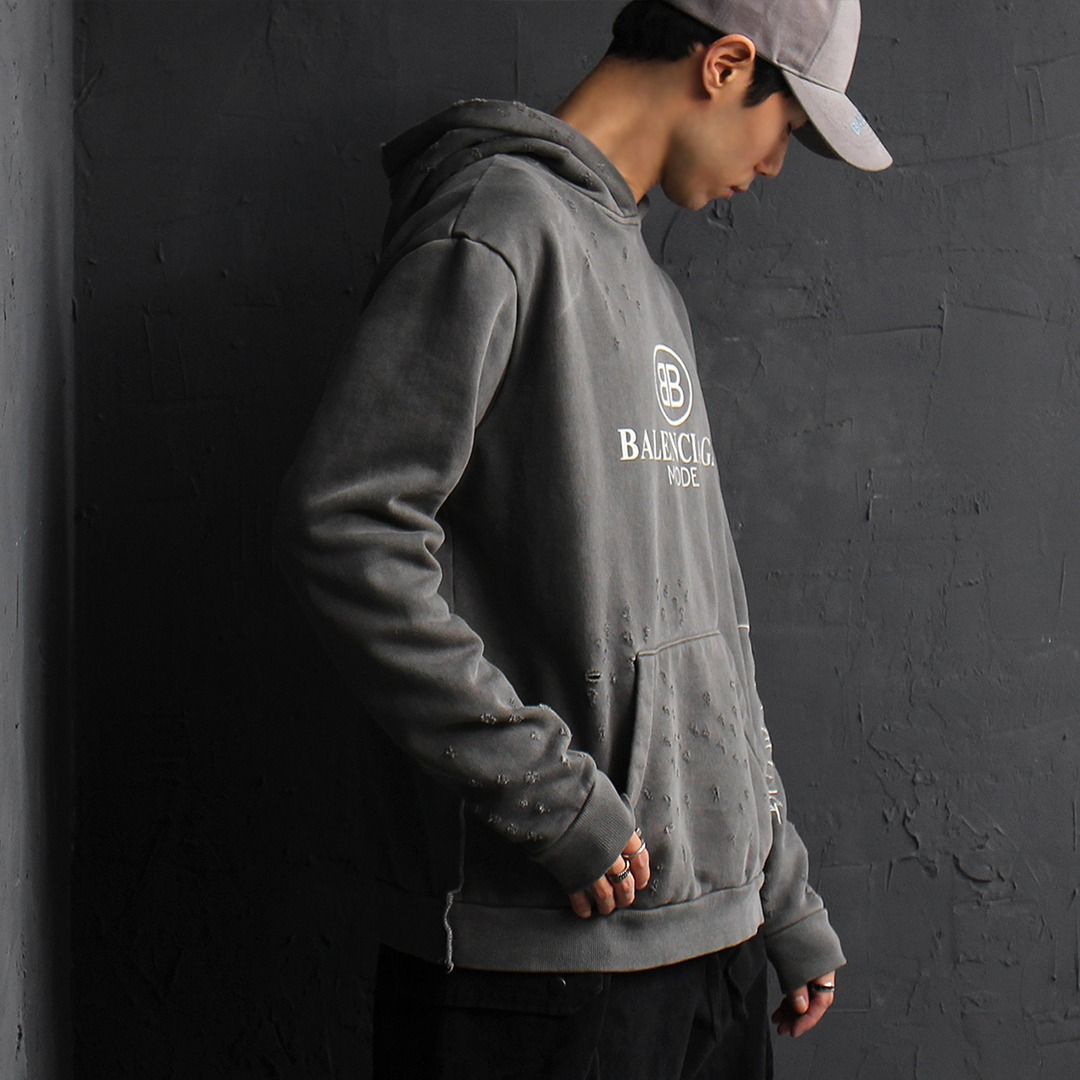 Graphic Logo Printing Pigment Washed Vintage Distressed Boxy Hoodie 066