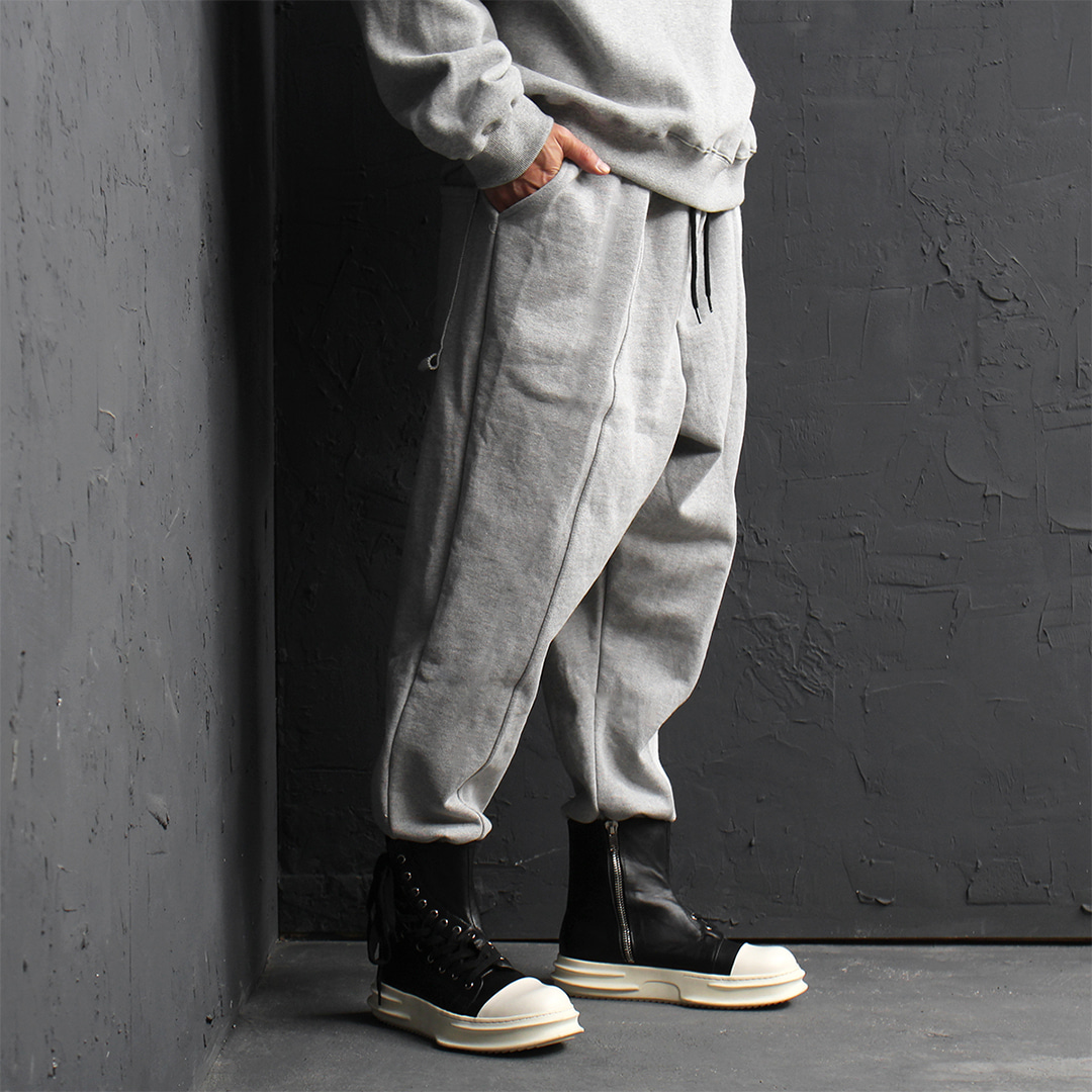 Giant Loose Fit Drop Crotch Contrast Vintage Trim Jogger Sweatpants 156