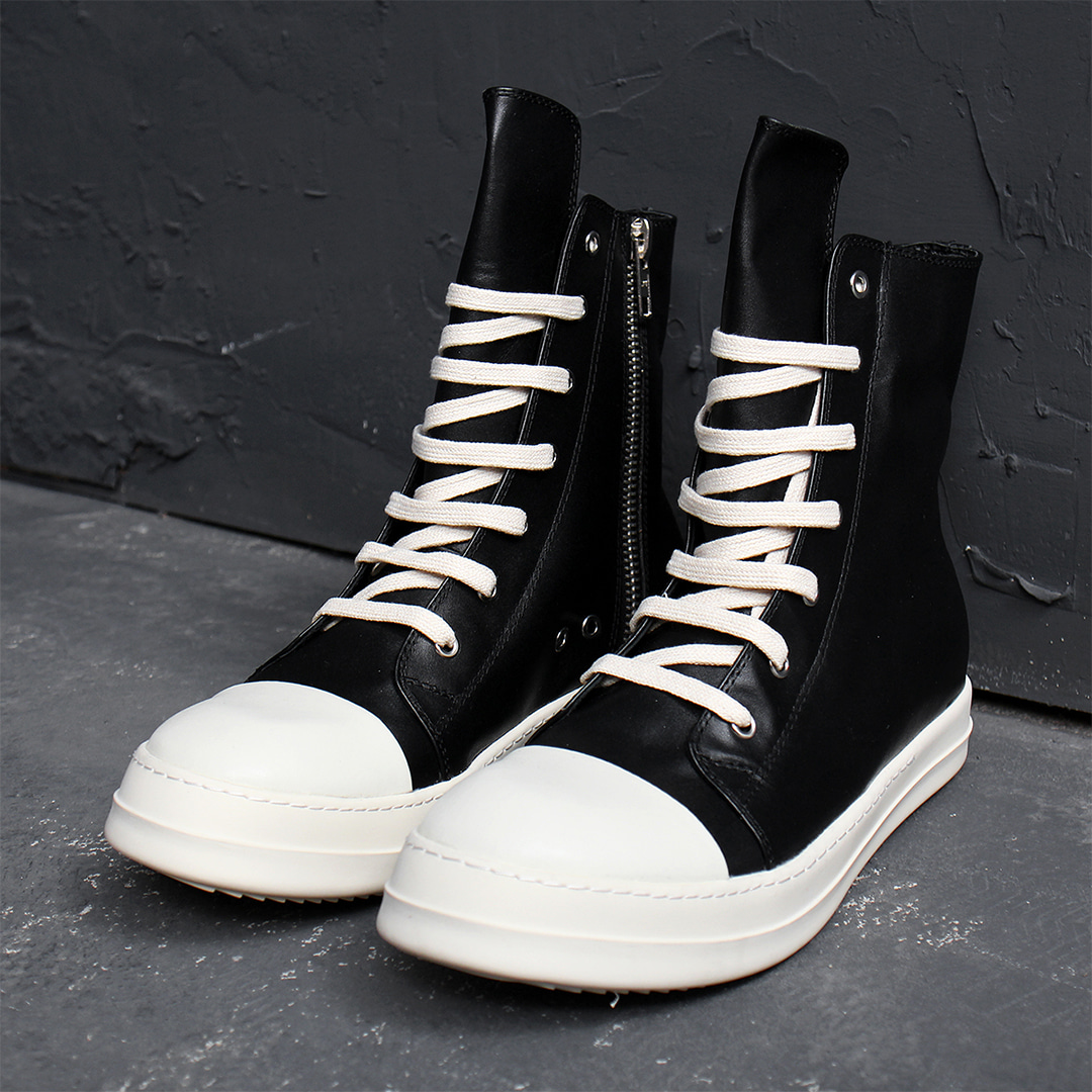 Over Tongue Zip Up High Top Leather Sneakers 023