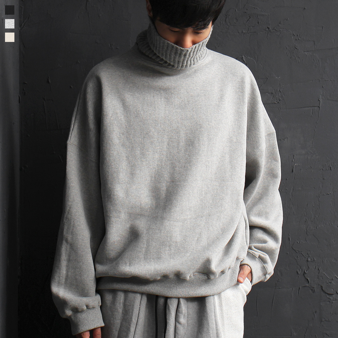 Loose Fit Knit High Turtle Neck Fleecy Interior Sweatshirt 077