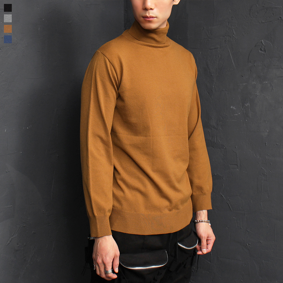 Standard Fit High Neck Basic Color Knit Tee 035