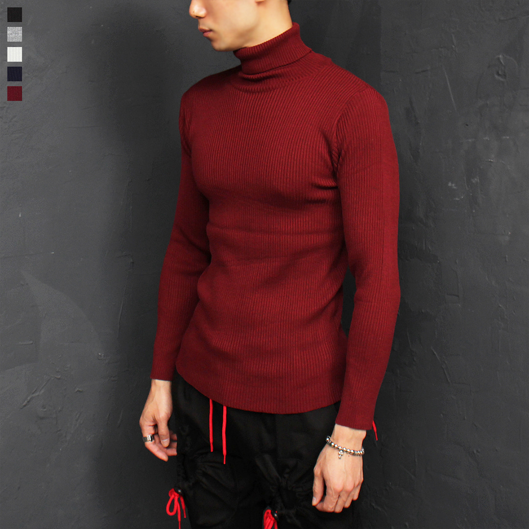 Slim Fit High Neck Corduroy Color Knit Tee 036