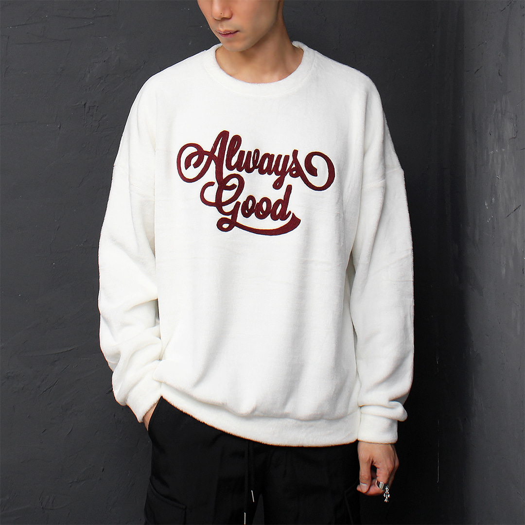 Fluffy Fleece Synthetic Fur Stitched Logo Sweatshirt 074