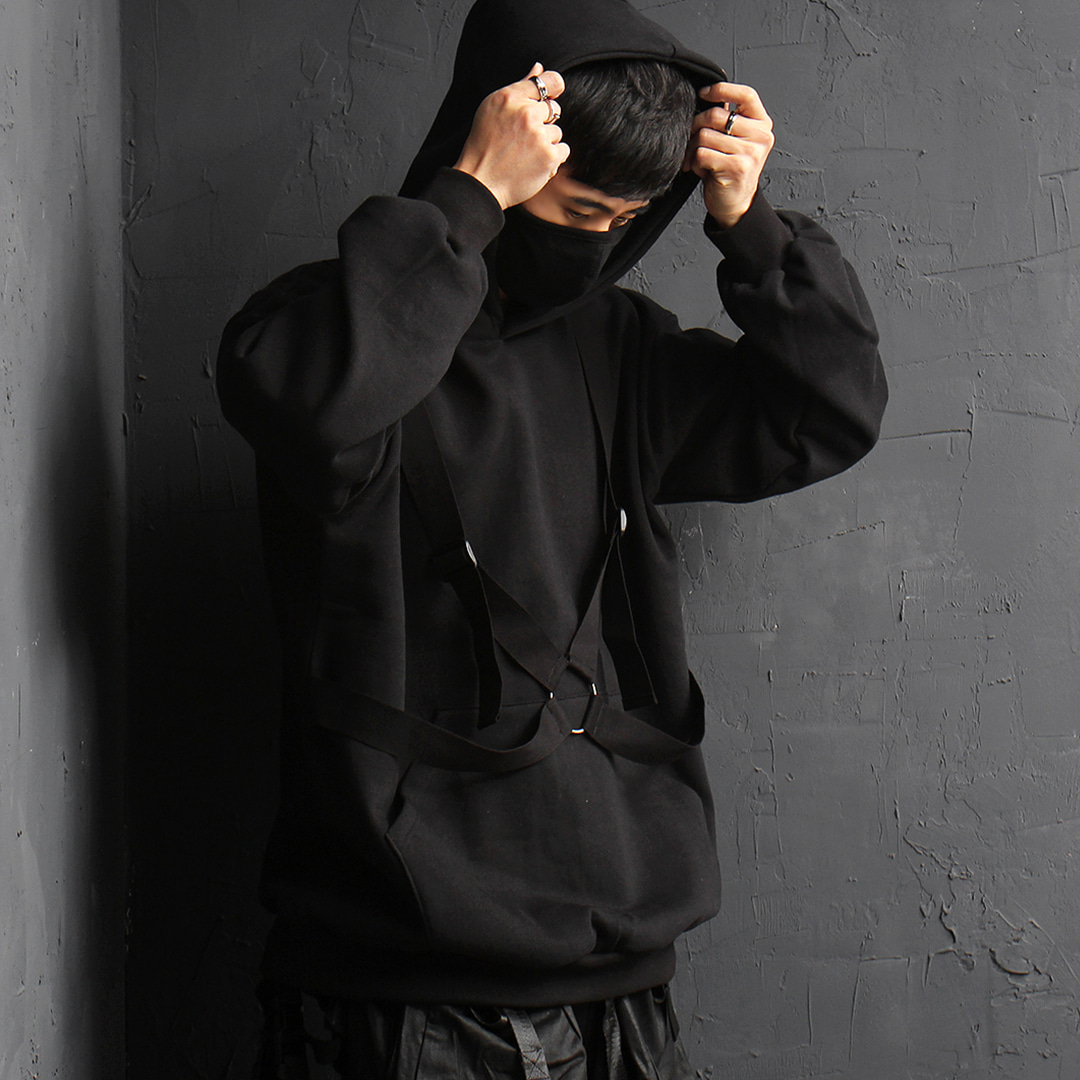 Techwear Look Crossed Strap O Ring Interior Fleece Hoodie 088