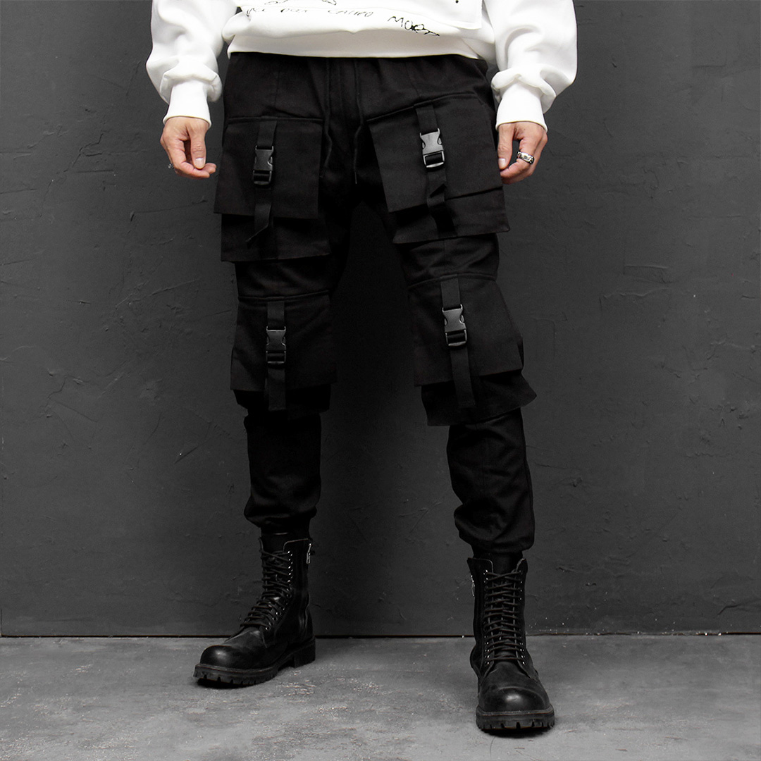 Tech Wear Big Buckle Closure Cargo Pocket Jogger Pants 021