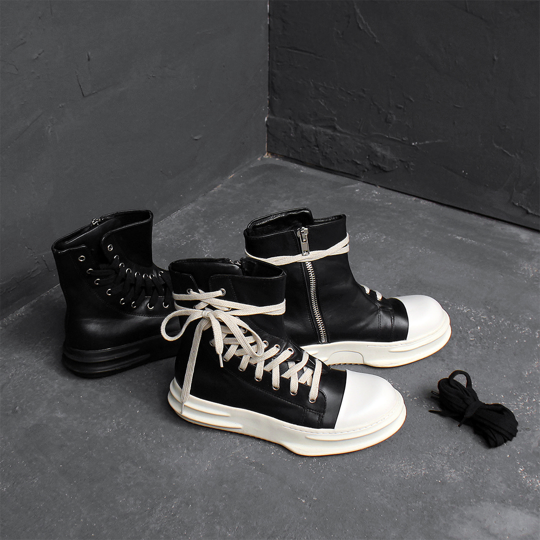 Diagonal Curved Lace Up High Top Leather Sneakers 026