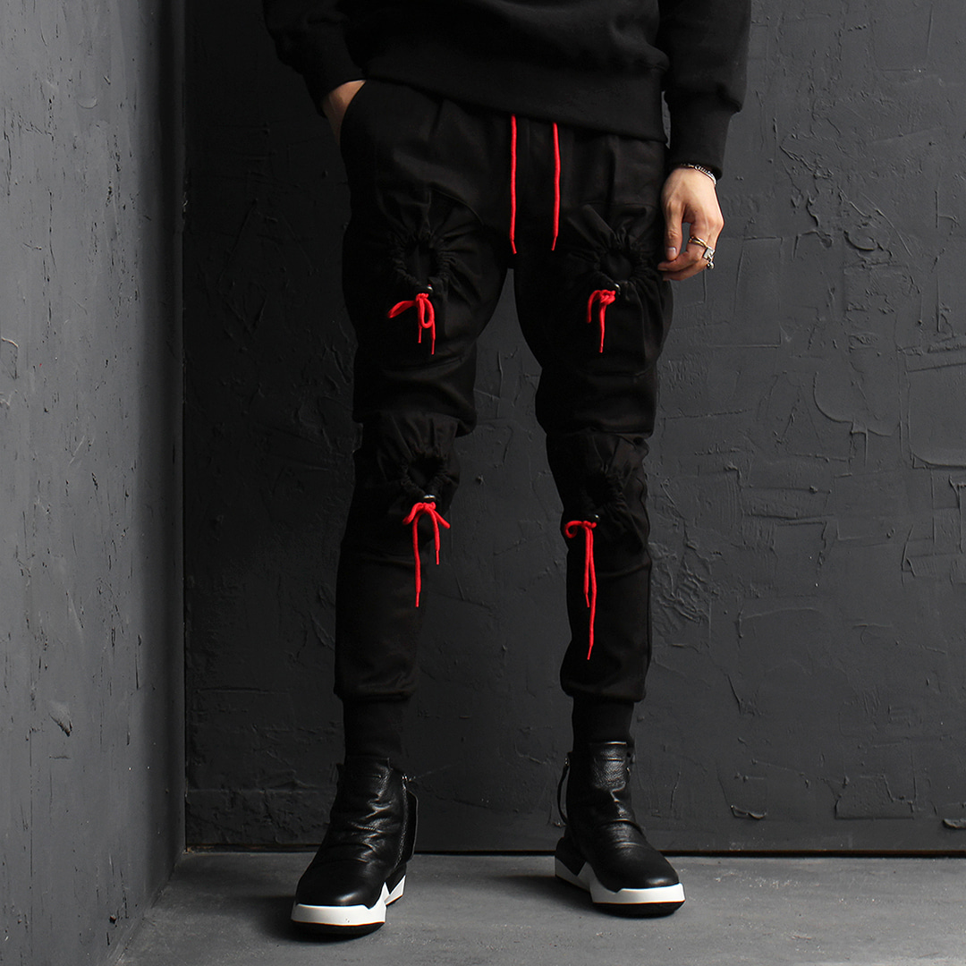 Red Draw String Unique Cargo Pocket Joggers 024