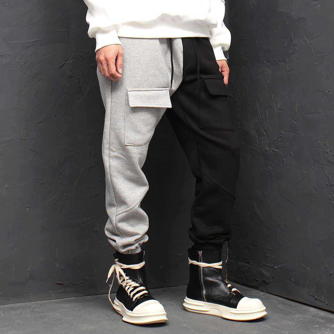 Contrast Half Color Fleecy Interior Jogger Sweatpants 157