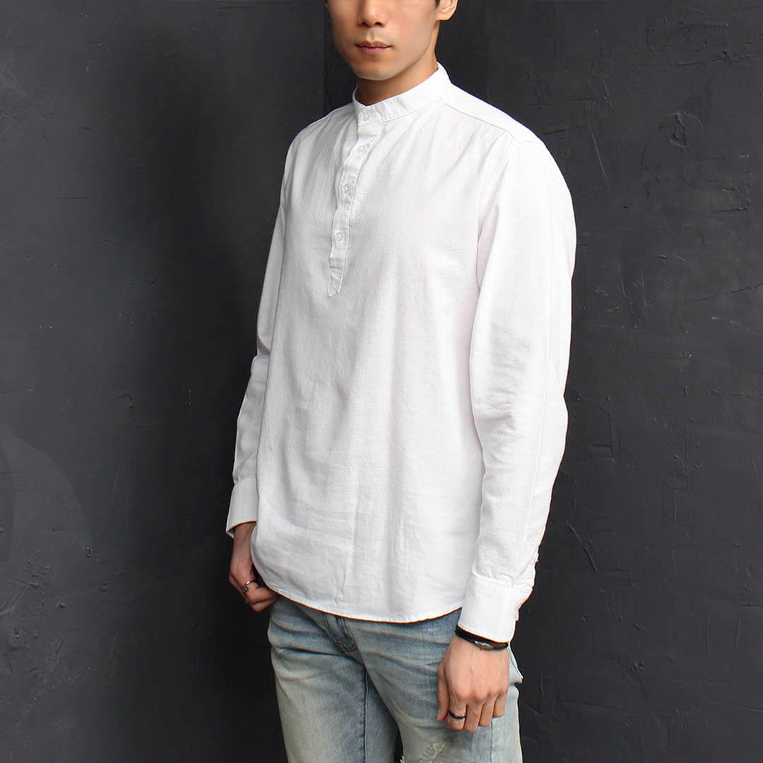 Standard Fit Henley Neck Button Up Shirt 085