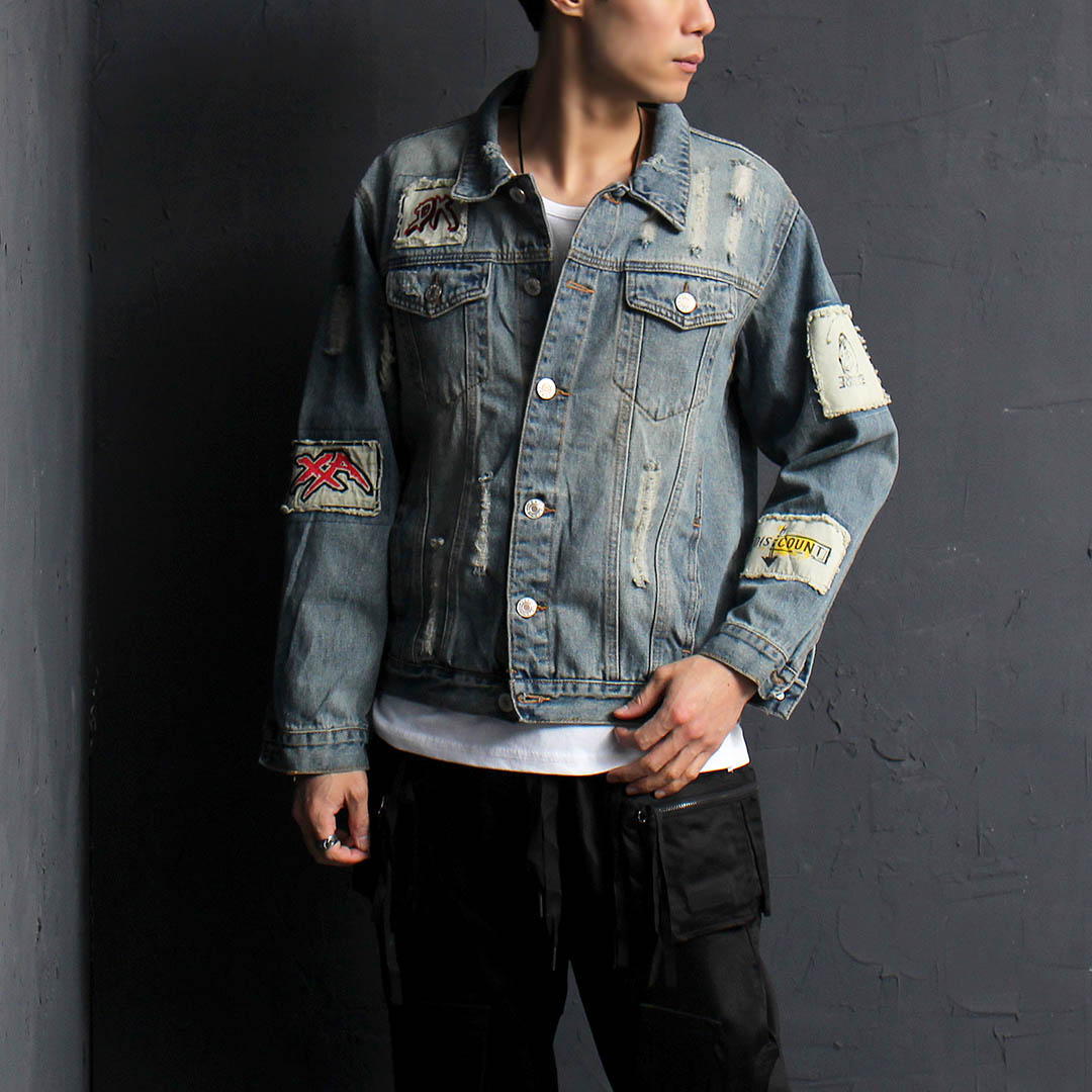 Vintage Distressed Patched Denim Jacket 075