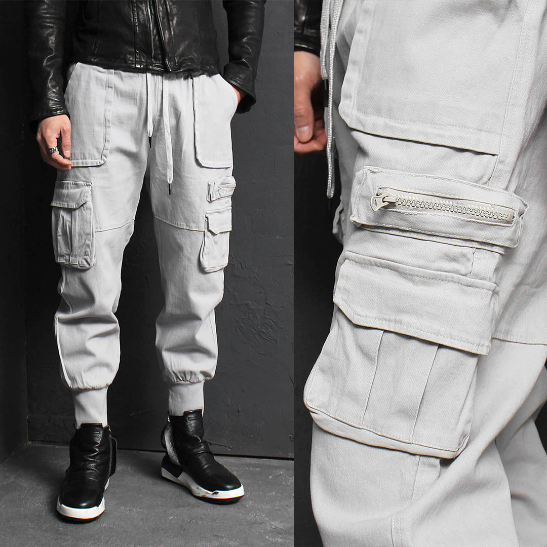 Gray Cargo Pocket Baggy Jogger Sweatpants 167
