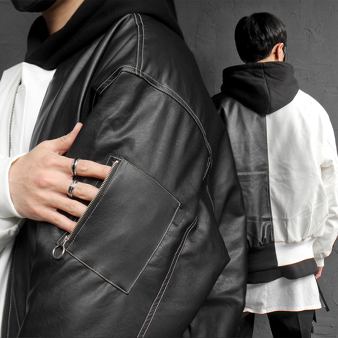 Half Black White Contrast Color Faux Leather Bomber Jacket 077
