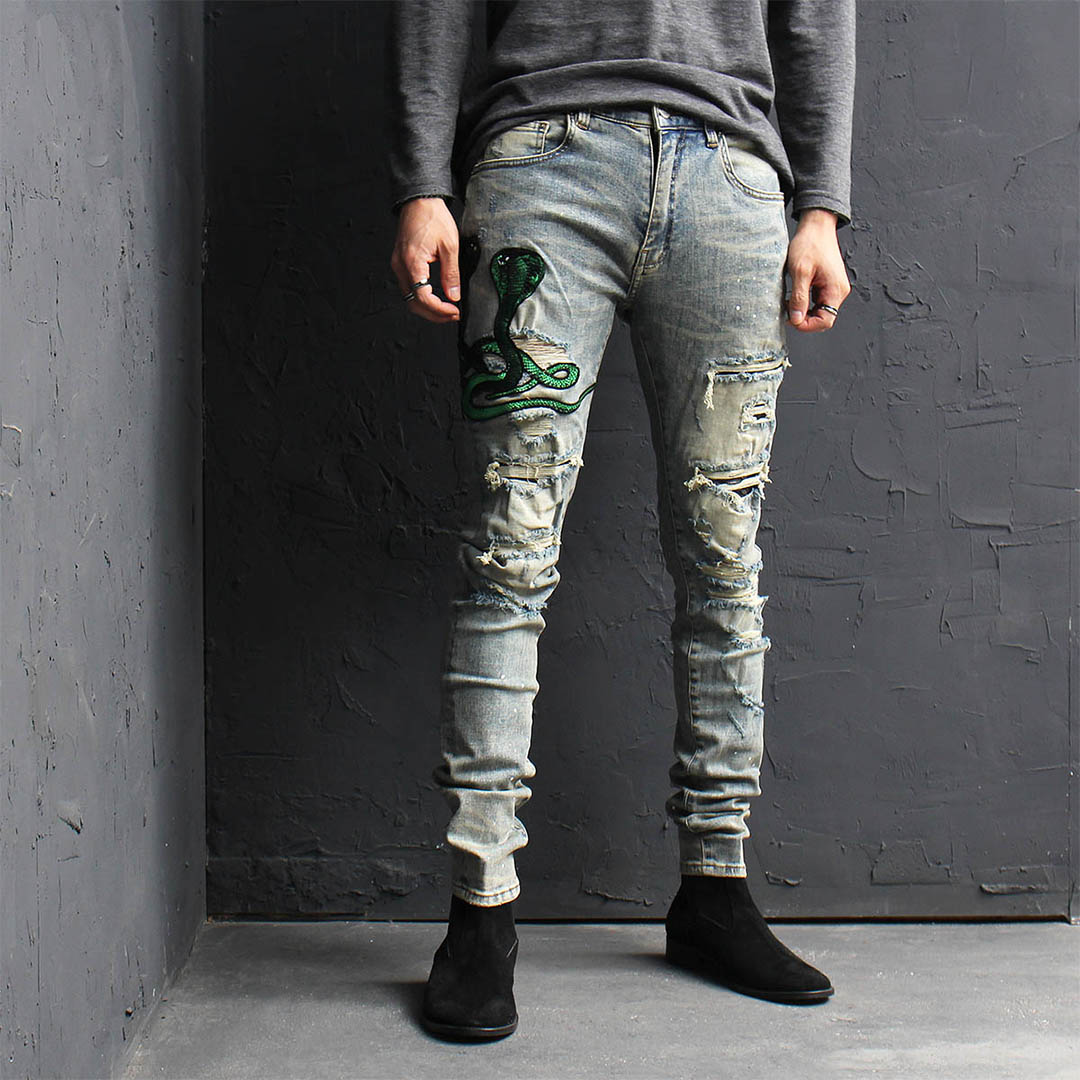 Distressed Destroyed Cobra Embroidered Patch Blue Skinny Jeans 130