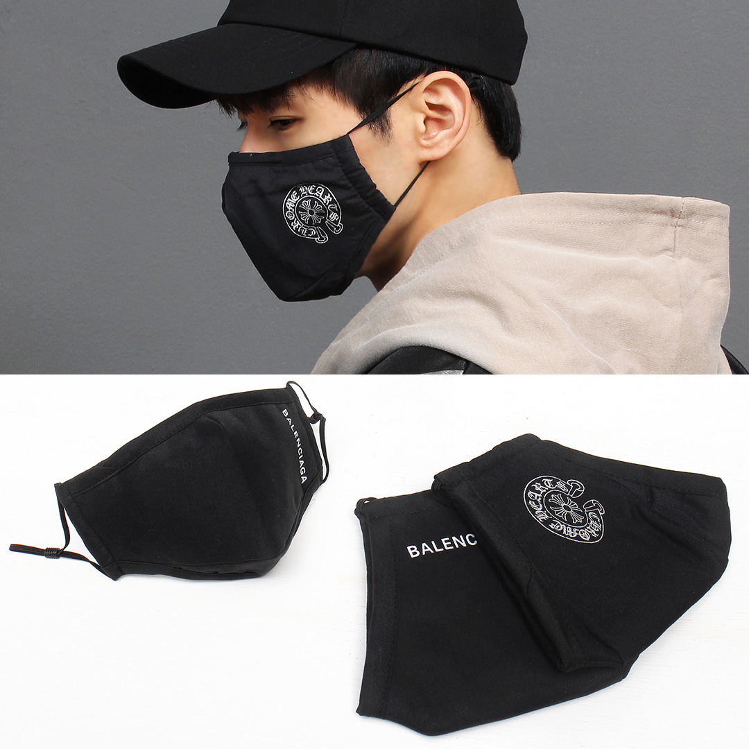 Fine Dust Filter Protection Logo Black Mask 001