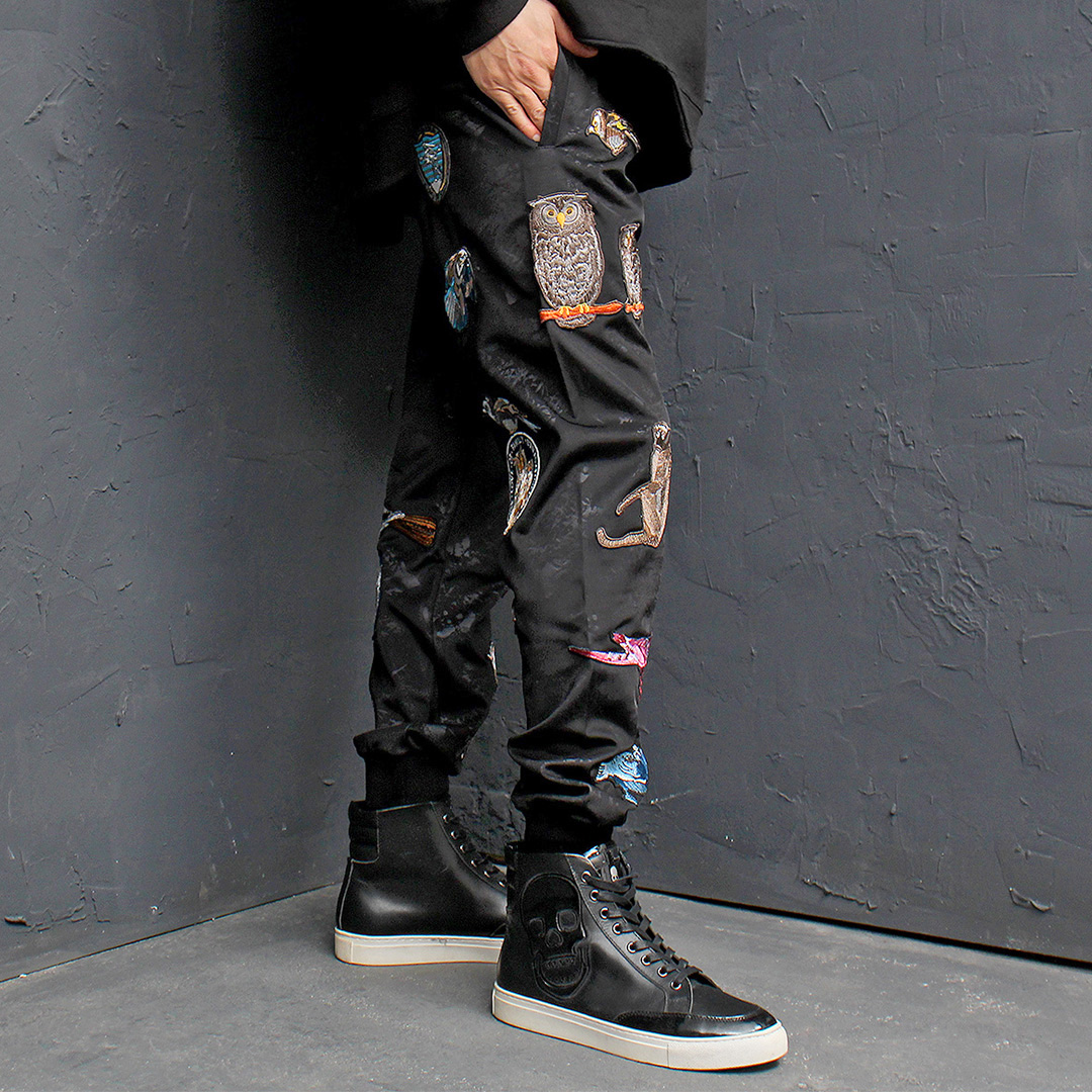 Multi Wappen Patch Jersey Baggy Joggers 158